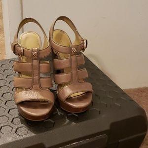 Tan Coach  wooden wedge heel